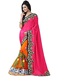 Tiana Creation Chiffon Saree (Maharani_Pink & Orange)