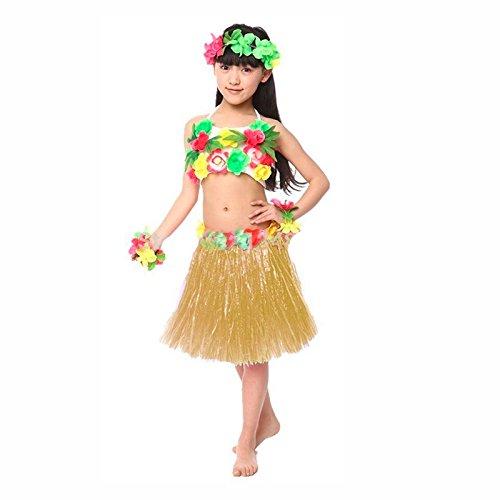 Falda Hawaiana Hula Infantil Natural 30 cm