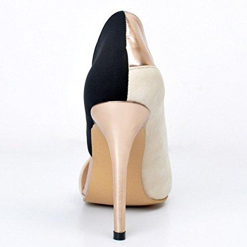 Faschion Bombeiam Mulheres Salto De 100 Pé Escritório Grandes dedo Partido Tamanhos Do Kolnoo Do Preto Aberto Milímetros Sapatos SS1qEwr