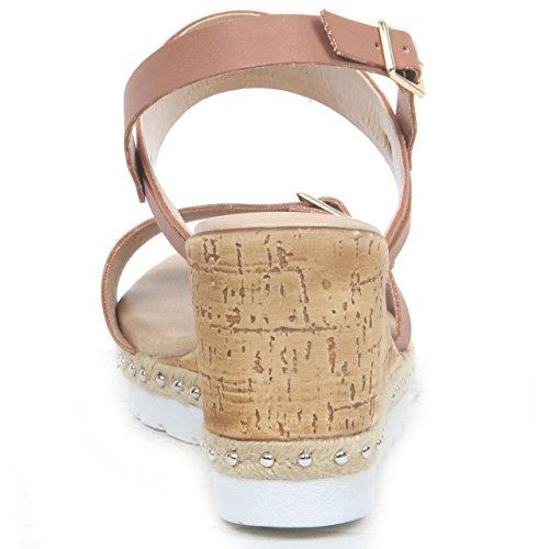 Salt Pepper-Stivali da donna, con zeppa, in pelle sintetica, con motivo a Sandali estivi da donna, a punta aperta, scarpe Marrone (marrone)