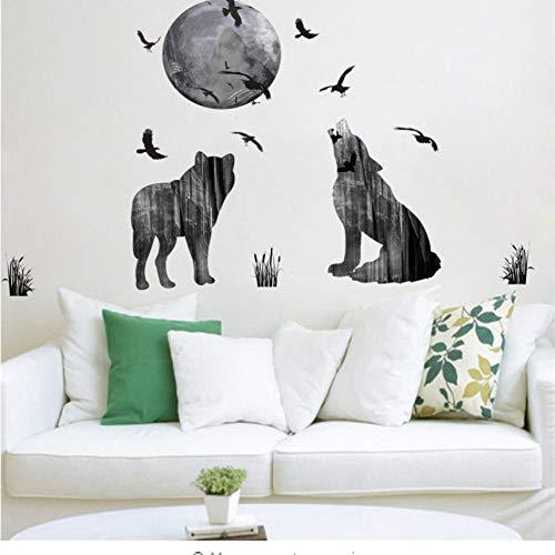 Dark Ghost Forest Wolf Crow Wandaufkleber Steuern Dekor Wohnzimmer PVC Halloween Wandtattoos Diy Wandbild Kunst Poster Geschenk (Halloween Minecraft Wallpaper)