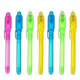 Ogquaton 7pcs / Set Stylo à Encre Invisible, Stylo Fluorescent, marqueur Magique pour Stylo, lumière UV intégrée, sécurité à Utiliser