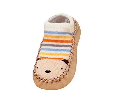 Moolecole Cute Kaki Ours Unisexe Bébé Et Enfants Antiderapants épais Chaussettes Domicile Chaussons Baby Non-slip Floor Coton Socks Stockage Long 12.5cm Khaki bear 16.5cm