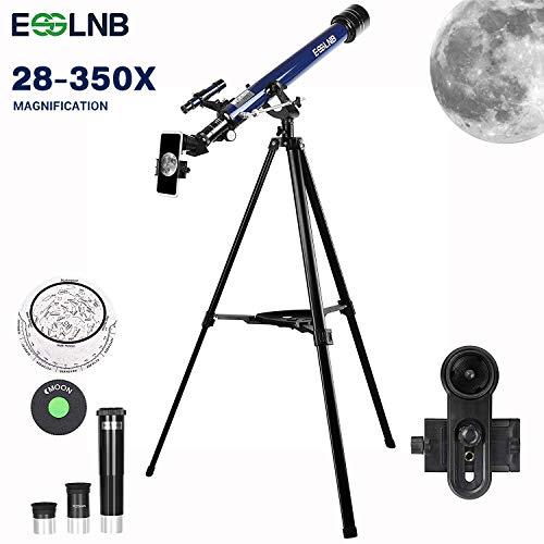 ESSLNB Refraktor Teleskop Kinder Einsteiger 60/700 Astronomisches Teleskop 10x Smartphone Adapter Ausziehbares Stativ 3X Barlow und Mondfilter Aufrechte Bilder bieten