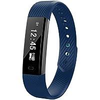 Fitness Tracker Smart Uhr mit Herzschlag Monitor Schritt Tracker Kalorienzähler Armband Wasserdicht Activity Tracker Schrittzähler für IOS Android Schwarz (Dark blue)