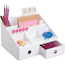 mDesign Organizzatore Scrivania Ufficio con Cassetti, per Penne, Evidenziatori, Note Adesive, Forbici - Bianco