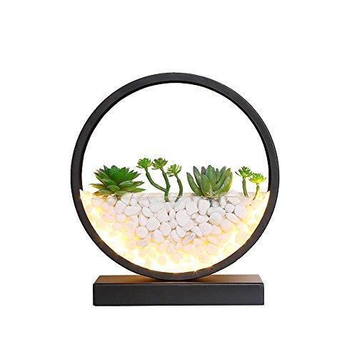 BINGModern, Nordic, minimalistisch, stimuliert saftige Pflanzen und Kopfsteinpflaster LED-Schreibtischlampe, LED Nachtlicht mit hohl-out-Design, Eisen & Acryl gemacht Lampenkörper für Schlafzimmer