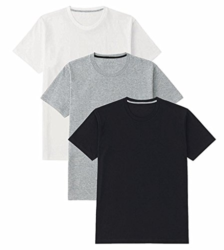 B&W Men's Basic Premium Cotton - Round Neck - Half Sleeve Solid Summer T-Shirts - Pack of 3 4