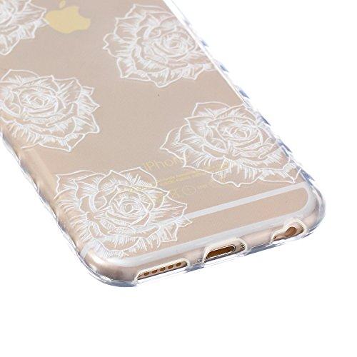 SainCat Custodia iPhone 6 6s 4.7 Pollice,Fashion Design Ultra Slim Morbido Flessibile Trasparente Soft TPU Gel SiliCon Thin Painting Case Caso Cover,Clear Sottile Copertina Antiurto Protecttivo Shell  Sei Rose