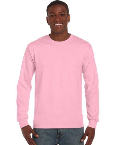 Rundhalsausschnitt, Mit Pink (Gildan Ultra Herren T-Shirt mit Rundhalsausschnitt, langärmlig Medium,Rosa - Light Pink)