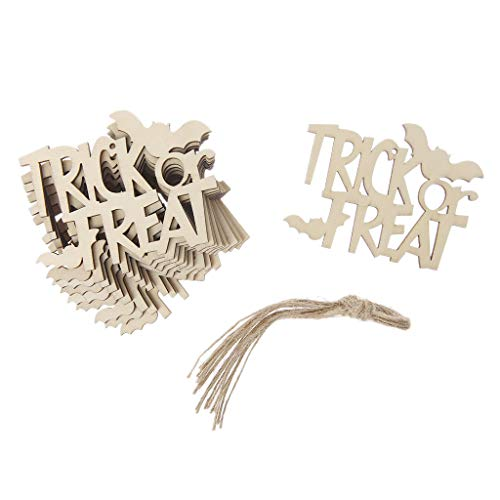 zchddp 10 Stück Halloween Trick or Treat Anhänger Home Office Decor DIY Ornamente mit Seil