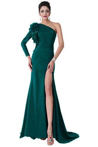 Sunvary inclinata spalle frontale e corsetto Pageant a fessura Sexy abito da sera Hunter Green