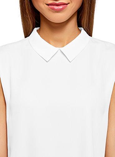 oodji Ultra Damen Ärmellose Bluse Basic mit Kragen, Weiß, DE 38 / EU 40 / M