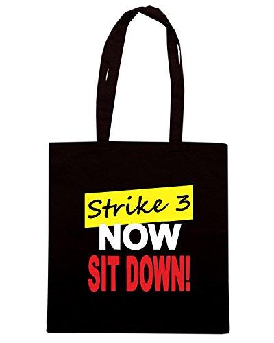 T-Shirtshock - Borsa Shopping OLDENG00665 strike 3 now sit down Nero