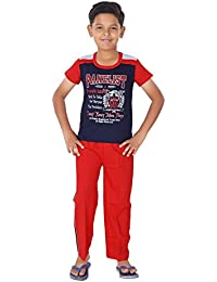 Ginessa Summer Night Suit for Kids / Boys - Night wear - Track Suits - Pyjama Tshirt Night Wear Combo Set -Cotton Material-Half Sleeve - Multi Color - Branded Kids Wear -For 6/8/10/12/14/16 Year Boys - Track Pant and T-shirt …