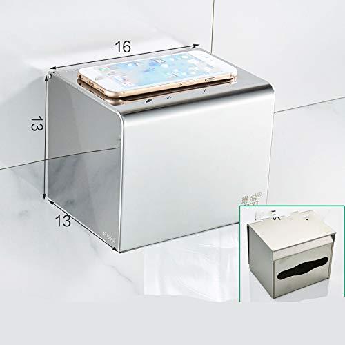 Bad-Handschale Free Punch Bad-WC-Fach 304 Edelstahl Handtuchhalter Toilettenpapierhalter Reel T13-Doppel-Fach