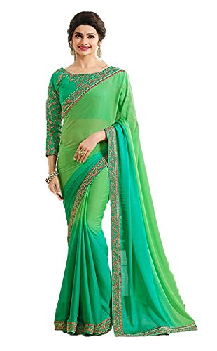 Women's Clothing Green Georgette Sarees For Women Party Wear Offer Latest Designer New Collections Saree with Embroidered Dupion Silk Blouse