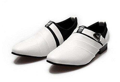 SHIXR Herren Casual Schuhe Britische Spitz Leder Schuhe Haar Stylist Jugend Trend Erhöhung Schuhe Hochzeit Schuhe Weiß Schwarz Braun White