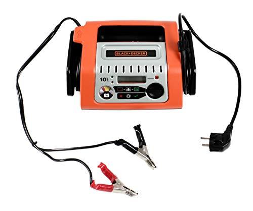 Black- & Decker Re-Charge It Batterieladegerät, Starthilfe KFZ Auto PKW, Ladegerät 12V 180 Ah 10A LED-Anzeige, Netzanschluß, Plus- + Minusklemmen, Vier-Phasen-Ladetechnologie, EIN-Aus-Schalter