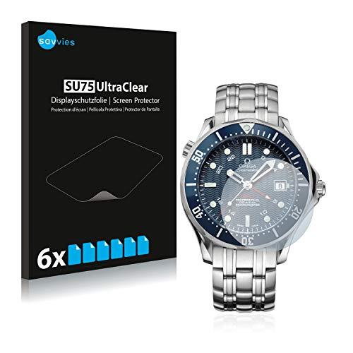 Savvies Schutzfolie kompatibel mit Omega Seamaster Diver (41 mm) (6 Stück) - ultraklare Displayschutz-Folie