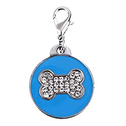 Rrimin Pet Cat Dog ID Tags Customized Personalized Round Feet Shaped Alloy Crystal (Blue)