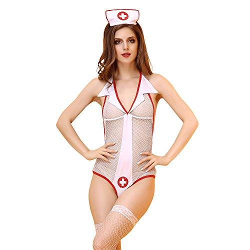 Flirty Krankenschwester Kostüme (FLH Krankenschwester Kleidung Hotel Uniformen Nurses Piece Anzug Rolle spielen Kleidung cosplay Erogenous ( Farbe : Weiß , größe : One size)