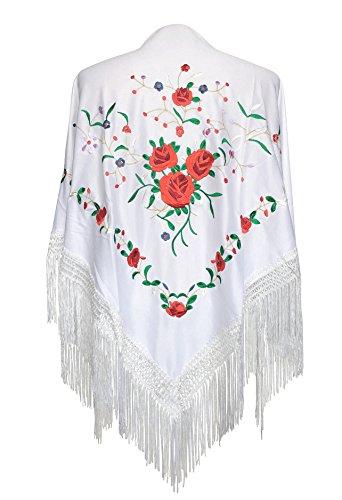 La Señorita Mantones bordados Flamenco Manton de Manila blanco con rosas rojo