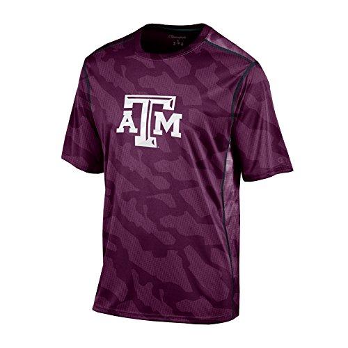 Champion NCAA Jungen T-Shirt mit Rundhalsausschnitt, kurzärmelig, Jungen, NCAA Boy's Short Sleeve Colorblocked Crew Neck T-Shirt, kastanienbraun, X-Large Colorblocked Zip