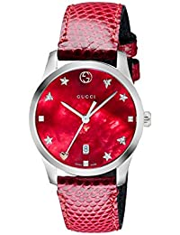 Gucci Womens Analogue Classic Quartz Watch with Leather Strap YA126584