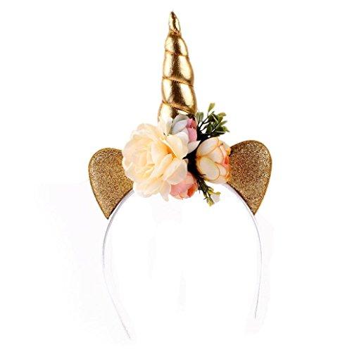 Malloom® Mädchen Partei Kopfschmuck dekoratives Einhorn Blumen Haarband Stirnbänder Headwear (gold)