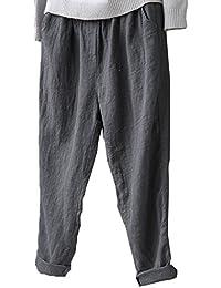 yulinge La Mujer De Algodón Y Pantalones De Lino Tobillo Cintura Elastica Pantalones  Plus Size 66c1e379985b