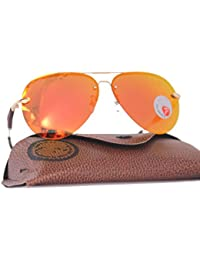 OMA™ Polorized Aviator Round Shape Without Frame Men's & Women's Orange Sunglasses