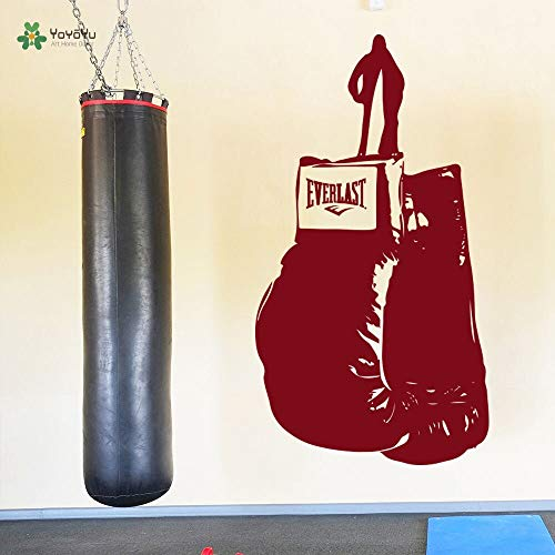 zhuziji Wandtattoo Art Vinilos Infantils Boxhandschuhe Fitness Boxen Wandaufkleber Sport Gym Room Decor Aufkleber 68.4x124.8cm