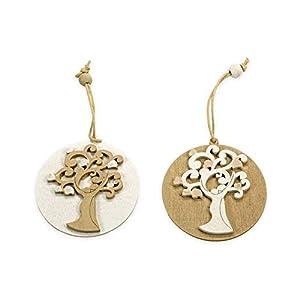 12X Medaglione in legno coppia albero della vita decorazione bomboniera