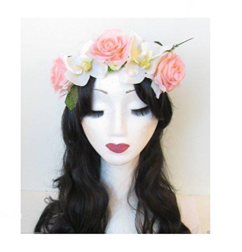 Vintage Rose Fleur Bandeau Rose/Orchidée/festival/style bohème Motif floral blanc fait main L90 * * * * * * * * exclusivement vendu par – Beauté * * * * * * * *