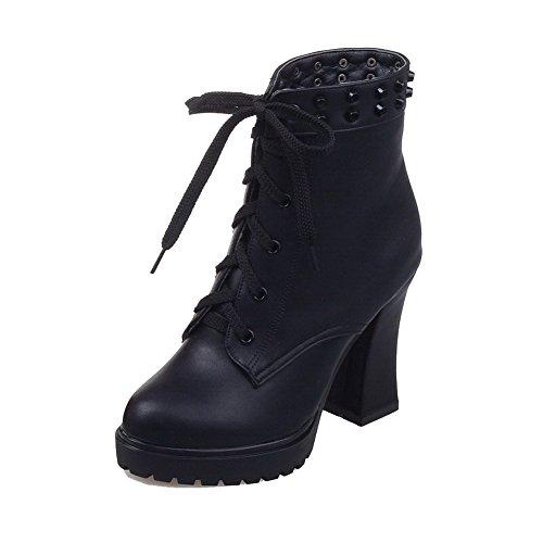 AgooLar Damen Eingelegt Hoher Absatz Reißverschluss Rund Zehe Stiefel mit Rivet Set, Schwarz, 39