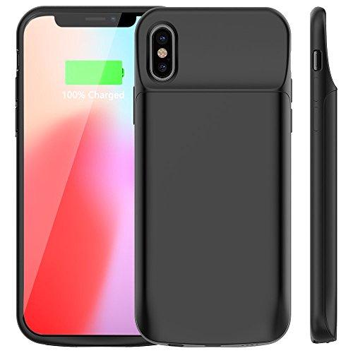 Vobon Coque Batterie iPhone X, 6000mAh Chargeur Batterie Externe Portable Rechargeable Coque Chargeur de Protection pour Apple iPhone X/10 [5.8 Pouces] (Noir)