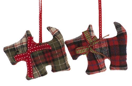Festive Tartan Stoff Scottie Hund hängende Dekoration set von 2 -