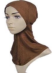 Qissy® Mujeres Musulmanas Hijab Algodón Cap Modal Turbante Étnico Sombrero Monocromo Cap (Style 9)
