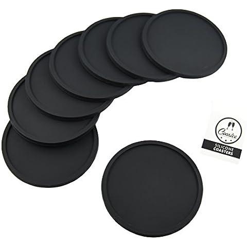 Posavasos de silicona, 8unidades, color negro, para bar, Salón, cocina