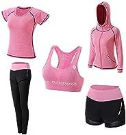 Abbigliamento Sportivo da Donna, T-Shirt 5set Suit per Sport Yoga Ginnastica Sport Include Manica Lunga e Cort