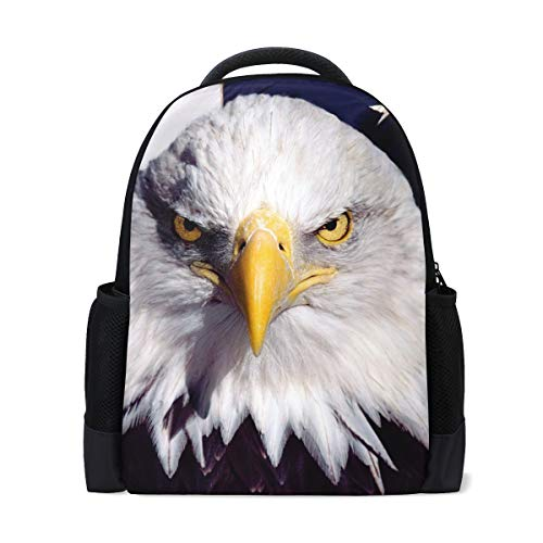Süße Rucksack Tasche Weißkopfseeadler und amerikanische Flagge Rucksack für Jungen und Mädchen Outdoor Casual Daypack