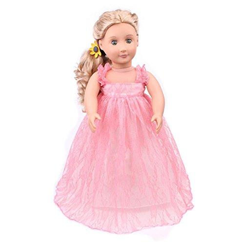 AmaMary Anzieh Kleidung für für 18 Zoll American Girl, Schöne handgemachte hübsche Spitzenkleid passt Outfit für 18-Zoll-American Girl Generation Puppe (Rosa) (Cute Girl Kostüme Machen Zu)