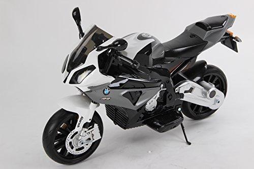 DISTR. GERARDI & FORTURA Elektro-Motorrad für Kinder BMW S 1000 RR batteriebetrieben, zugelassen, weiche Eva-Räder, Metallrahmen, 2 Motoren, 12 V Batterie