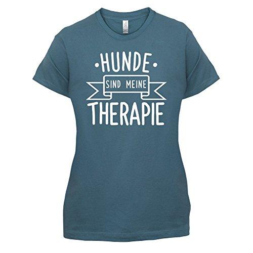 Hunde sind meine Therapie - Damen T-Shirt - 14 Farben Indigoblau