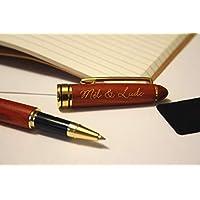 Stylo roller personnalisé en bois rouge foncé, texte gravé et doré, cadeau unique anniversaire, mariage, noël, retraite
