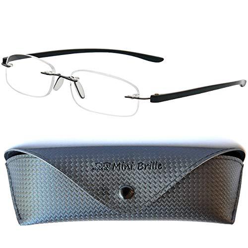 Lesebrille randlos mit ovalen Gläsern - mit GRATIS Etui | Edelstahl Rahmen (Schwarz) | Lesehilfe für Damen und Herren | +1.5 Dioptrien