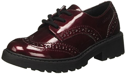 Geox J Casey K, Zapatos Cordones Brogue Niñas, Rojo