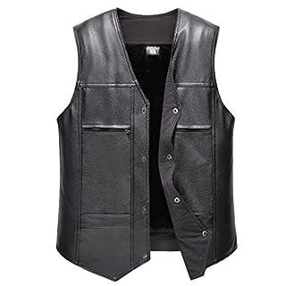 ACMEDE Mens PU Leather Plain Motorcycle Biker Waistcoat Vest velvet inside in Black/Beige