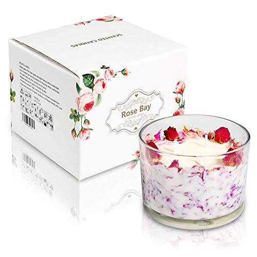 YZYSM Rose Blütenblatt Duftende Kerze Geschenk-Box Reine Natürliche Soja-Wachs-Glas -
